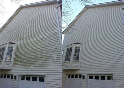 a before and after shot of a house with discoloring being removed
