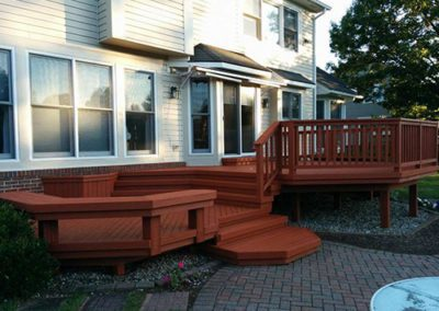 deck with red colored finish
