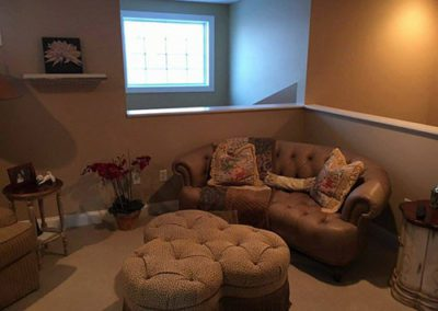 a livingroom with newly painted walls