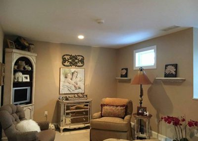 a livingroom with grey paint on walls