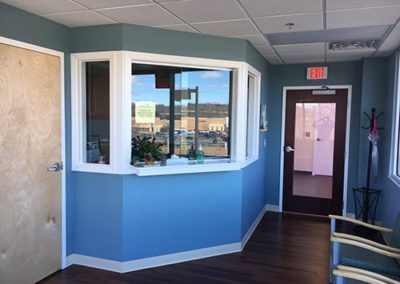 reception area painted blue