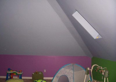 child's room with green and pink paint