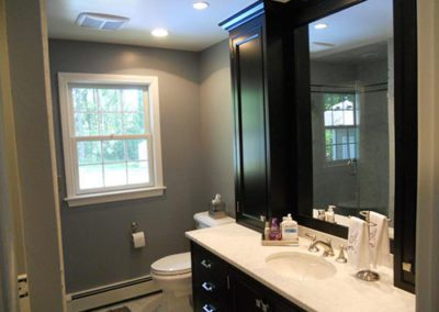 a newly painted gray color bathroom