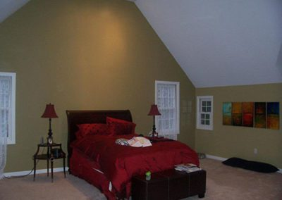 a room with olive colored paint