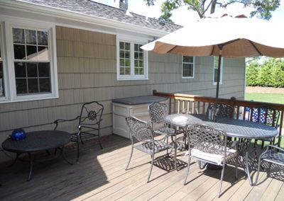 outdoor patio with freshly painted house