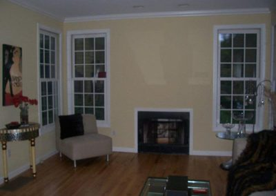 a yellow painted room