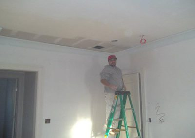 a man on a ladder painting