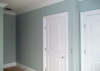 a room with blue painted walls