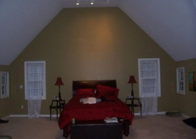 an olive colored room