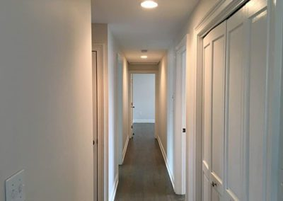 a hallway with new paint