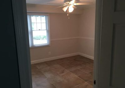 a room with light gray painted walls