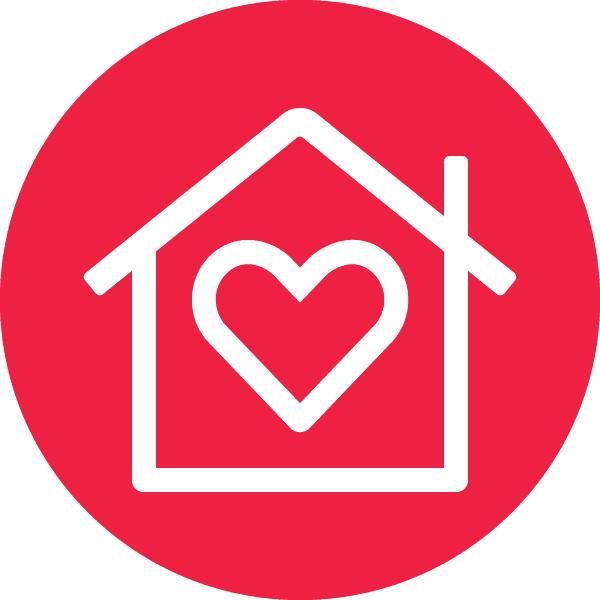 an icon of a house with a heart inside